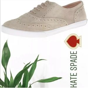 Kate Spade Lima Leather Taupe Oxfords Shimmer 11